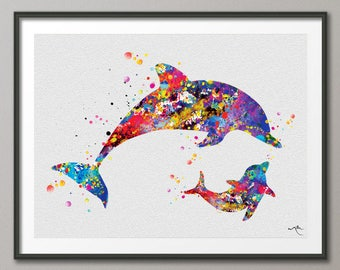 Dolphin Mommy and Baby Dolphin Sea Life Watercolor Art Print wedding gift Wall Art Poster Dolphins Wall Decor Nursery Wall Hanging [NO 754]