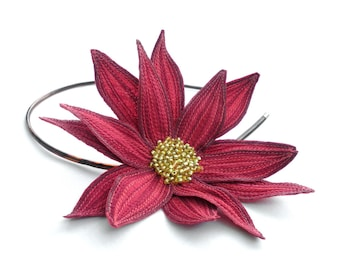 Lotus Flower Headband- Amaranth Pink with Dark Red and Bright Coral Embroidery- Embroidered and Beaded Lily Flower Fascinator