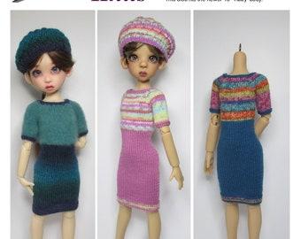 "KNITTING Pattern KP-008: High-waist dress & beret,  for Kaye Wiggs dolls.  (43cm/17"" Mei Mei and both 45cm/18"" bodies)"