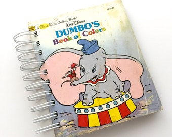 Dumbo Mini Art Journal / Junk Journal / 30pc  Ephemera Pack / Smash Book / Pockets / Mid Century Book / Scrap Journal / Mixed Media / Disney