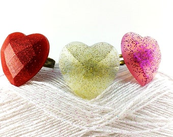 Heart ring Love ring Heart jewelry Resin ring Red heart ring Golden heart ring Pink heart ring Heart jewelry Fairy ring Mother's Day Gift