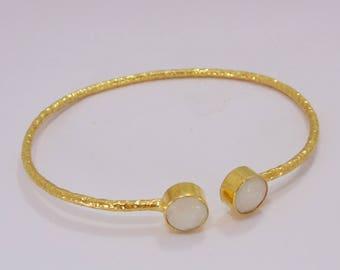 18K Gold Plated Bangle - Moonstone Bangle - Matte Gold Bangle - Natural Stone Bangle - Stacking Bangle - Birthstone Bangle - Sleek Bangle