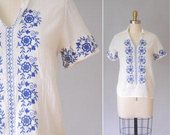 Antikh gauze blouse   70s greek coton blouse   vintage bohemian top