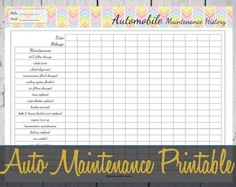 automobile maintenance record book
