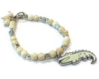 Alligator Bracelet White Turquoise Jewelry Cream Jewellery Children Handmade Charm
