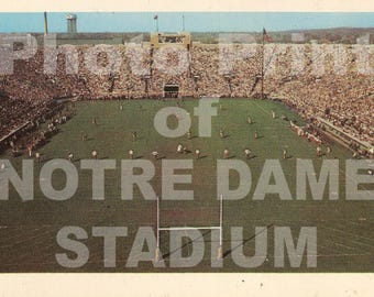 "Vintage 1960s post card photo print of Notre Dame Stadium with wooden ""H"" goal post Fighting Irish Knute Rockne Montana Lamonica Theismann"