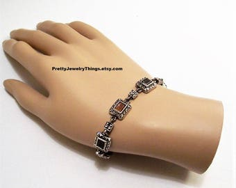 Black Square Link Bracelet Silver Tone Vintage Rust Brown Marcasite Gemstone Chain Toggle Bar Rings Clasp