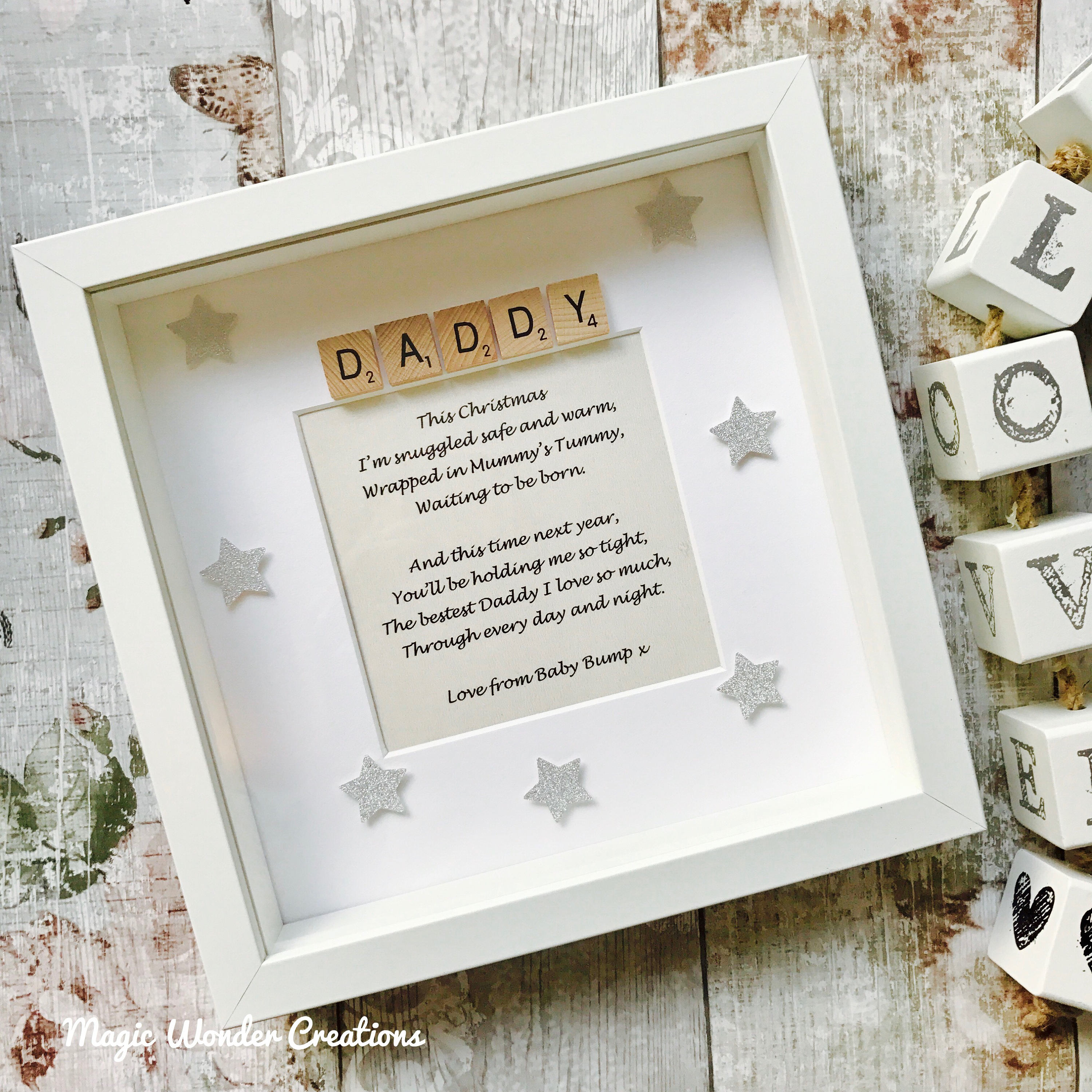 Daddy Love From Bump Gift, Personalised Love From Bump Daddy Frame ...