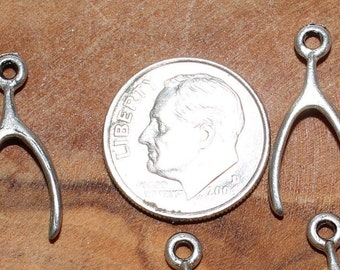 Made In The U.S.A. 20 X 8mm Silver and Gold Plate Over Lead Free Pewter Wishbone Charms