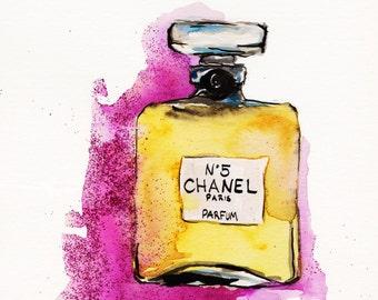 Chanel No 5  Print of Original Watercolor Illustration