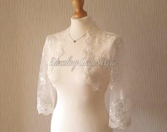 Ivory Embroidered Floral Lace Bolero 3/4 Sleeves / Shrug / Wedding Cropped Jacket / Wrap / Shawl - UK 6-28, US 2-24, EUR 34-56