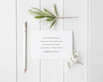 Greeting Card, Black and White Card, Typography Card, Don't Give Up, Encouragement Card, Hang in There, Good Will Come
