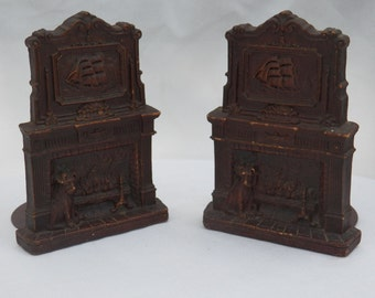 1940's Vintage Pair of Mid Century Syroco Bookends - Fireplace Hearth Scene with Dog and Sailboat - Office Home Decor Accessory -