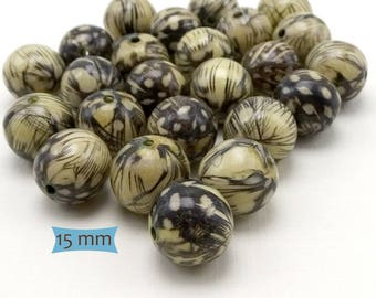 Guinea Fowl Feather Covered Wood Beads--5 Pcs. | 36-W1316-5