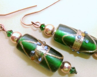Emerald Art Glass Dangle Earrings, Pierced Earrings, Modern Style Earrings, Dark Green Earrings