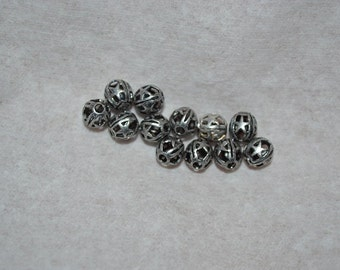 12 - 6mm Open Designer Beads with Stars - Limited Qty Available (3025028)