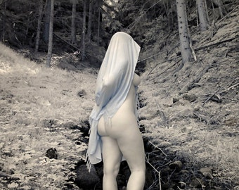 Nude art - naked in nature outdoor portrait fine art infrared photo print - Priestess in Infrared - 02