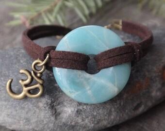 Amazonite donut Bracelet Om charm. Donut Gemstone. Bracelet essential oil diffuser . ENERGY. Zen Buddhist. Healing bracelet. Om Ohh charm
