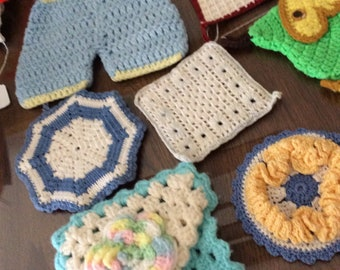 Hot Pads Mid Century Kitchy Retro Hand Made Knit Crochet Group of 7