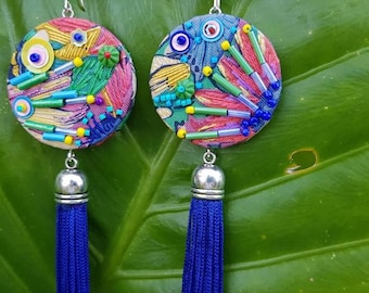 Anika embroidered silk round floral tassel earrings.