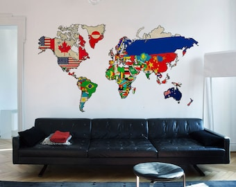 World Map Vintage Flags Decal Sticker - Vintage Flags Decals - Vintage Flags World Map Stickers - Also available as Poster