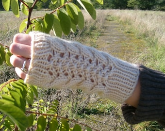 Cable-Lacey's fingerless gloves, Pattern only, PDF file.