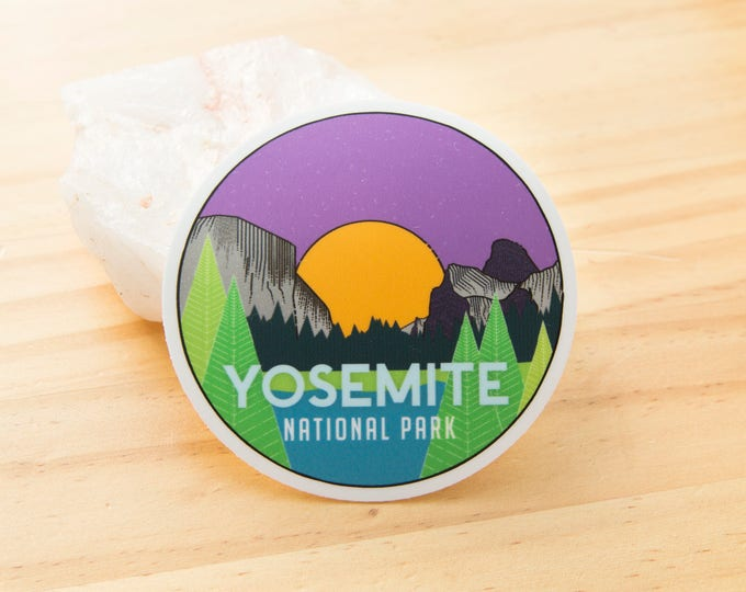 Featured listing image: Yosemite National Park Sticker - Digitally hand drawn - Vinyl Stickers, travel, nature enthusiast, cross country, backpacking, outdoors