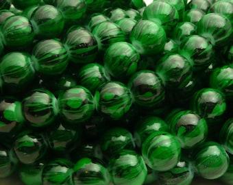 Dark Green and Black Swirled Round Glass Beads - 8mm Bohemian Beads - 25pcs - BN29