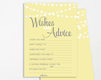 Wishes for Bridal Shower Printable | INSTANT DOWNLOAD | Yellow Grey Lights | Bridal Shower Game | Bridal Shower Decoration | Advice Card