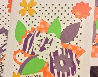 50percentoffsale set of 6 handmade greeting cards, floral cards, hello and thank you cards, 6 cards in a cellophane bag, package of handmade