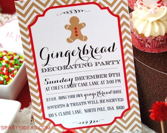 Gingerbread House Decorating Party Invitation - INSTANTLY EDITABLE & PRINTABLE with Templett