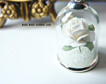 Winter White Rose Snow Glass Globe Necklace or Earrings - Gift box included