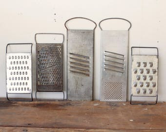 Rustic Kitchen Wall Collage Utensils Tools Collection of 5 Wall Hanging Decor Vintage Metal Graters Slicers Kitchen Props