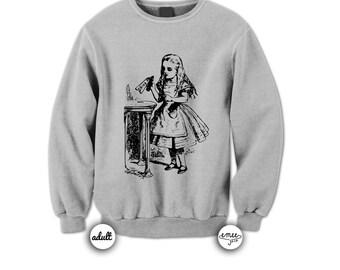 Alice in Wonderland Sweater Drink Me Sweatershirt Crewneck Sweatshirt