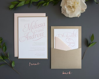 Classic & Elegant Wedding Invitation SAMPLE, Panel Pocket, Blush and Gold