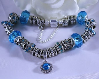 Bracelet, March Birthstone, Aquamarine Theme European Bracelet with Murano Glass and Crystal Pave Beads on Silver Plated Snake Chain