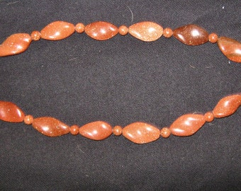 BROWN GOLDSTONE NECKLACE 20 inches long