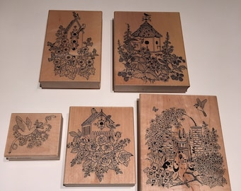 5 Variety Rubber Stamps Birdhouses