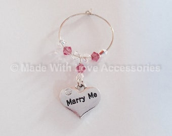 Marry Me Wine Glass Charm - Wedding Proposal - Engagement - Valentines Day
