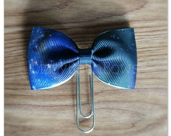 Galaxy ribbon bow Planner clip, bookmark, planner bow clip, milky way, stars, universe, blue white black