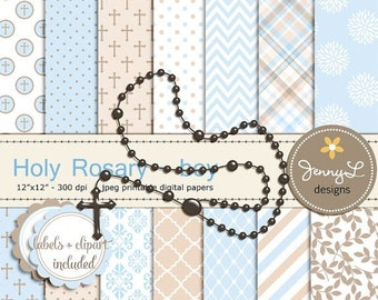 50% OFF Rosary Boy Baptism Digital Papers and Clipart, First Communion, Confirmation, Christening, Dedication, Holy Week Scrapbooking Paper,