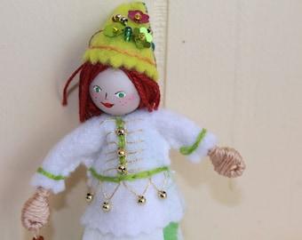 Green Polka Dots Spring Felt Art Doll Piksee Twin Hanging Ornament, felt ornament