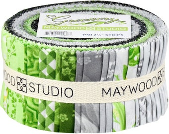 """Greenery Fabric Jelly Fabric Strips Maywood Studio - Precut 40 strips 2.5"""" wide 100% Cotton Sushi Roll, Spring, Summer, Green, Gray, Floral"""
