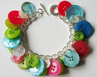 Button Bracelet Spring Mix Pink Lime Green Blue Pearly Cream