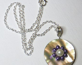 Vintage iridescent Pearl and purple beads - #167 necklace
