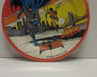 batman and Robin 1966 paper plates sealed set of 8