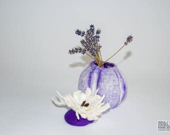 Wet felted bowl, purple wool bowl, jewellery box, wool vase, trinket bowl, ring bowl, felt storage pod, yellow gift box, felted vessel