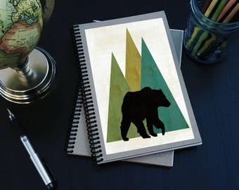 Journal. Woodland Bear writing sketchbook. Spiral notebook. Woodland print design. Woodland Moose art print. Home Accessory.  Customizable