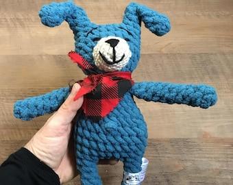 Ready to ship Titus-turquoise dog doll, plush handmade baby, child gift, Blue Dog Doggie gift, unisex gift