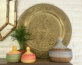 vintage large round brass wall tray flowers relief boho wall decor